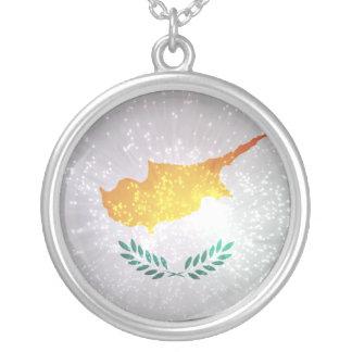 Κύπρος σημαία colar com pendente redondo