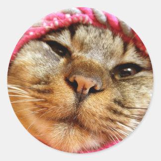 ピンク帽子のチャド ADESIVO REDONDO