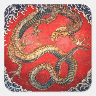 北斎の龍, dragão de Hokusai do 北斎, Hokusai Adesivo Quadrado