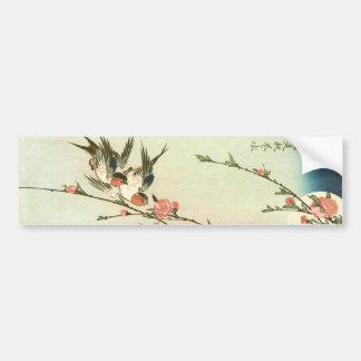 桃の花に燕, flor do pêssego do 広重 e andorinha, adesivo para carro