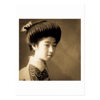 芸者 japonês clássico Japão da gueixa da beleza do Cartão Postal