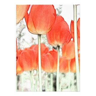 郁金香 Flor vermelha da tulipa do estilo artístico Convites
