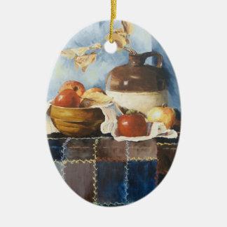 0541 maçãs & louça no ornamento da edredão