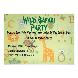 084, safari selvagem, partido, juntam-se por favor convite 12.7 x 17.78cm
