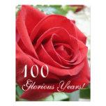 100 anos gloriosos! - Celebração/rosa vermelha do  Convite Personalizados