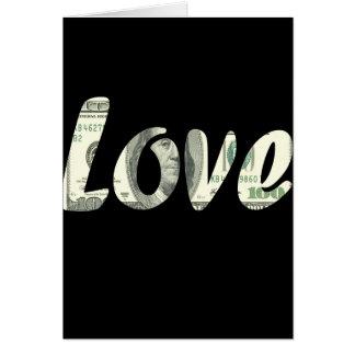 100 dólares de amor cartão