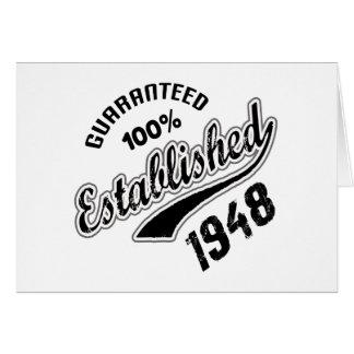 100% garantido estabeleceu 1948 cartão comemorativo