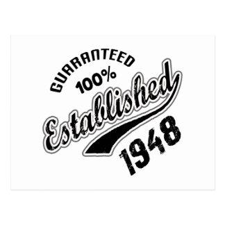 100% garantido estabeleceu 1948 cartão postal