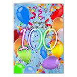 100th aniversário - cartão de aniversário do balão