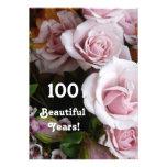 100th Buquê do rosa do rosa do partido de aniversá Convite Personalizado