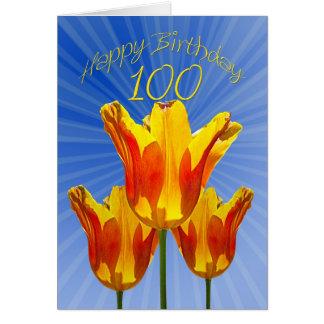 100th Cartão de aniversário, cheio das tulipas da