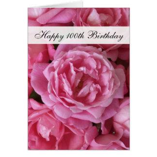 100th Cartão de aniversário - rosas por 100 anos