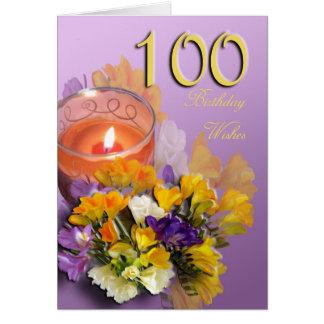 100th cartão feliz do aniversário