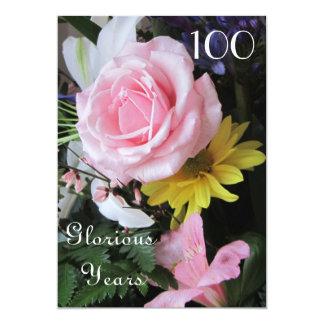100th Celebração do aniversário! - Buquê do rosa Convite 12.7 X 17.78cm