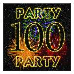 100th convite de aniversário com fogos-de-artifíci