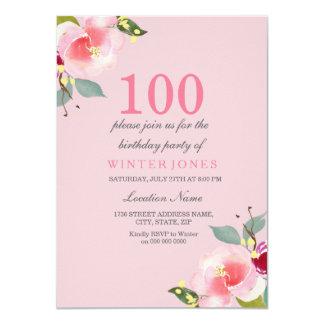 100th convite de aniversário floral cor-de-rosa