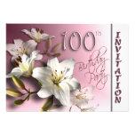 100th convite de aniversário - lírios brancos