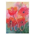 100th convite de aniversário - papoilas vermelhas
