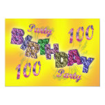 100th convite de festas convite 12.7 x 17.78cm