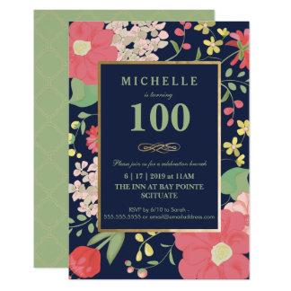100th Convite do aniversário - ouro, floral