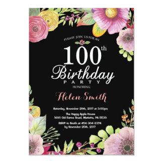 100th convite floral do aniversário para mulheres