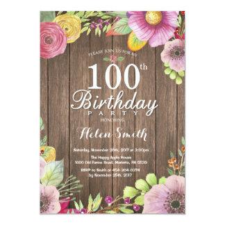 100th convite floral rústico do aniversário para