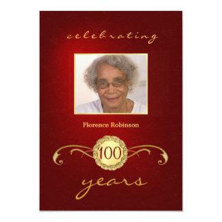 100th Convites da foto da festa de aniversário - Convite 12.7 X 17.78cm