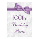 100th Damasco da festa de aniversário e arco do fa Convites Personalizados