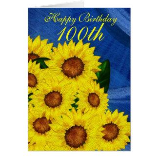 100th Girassóis florais do cartão do aniversário