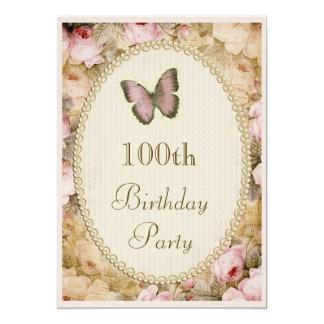 100th Notas da música da borboleta dos rosas do Convite Personalizado