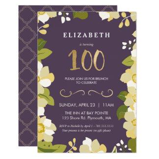 100th O convite do aniversário personaliza floral