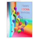 100th parede feliz do balão do aniversário cartão