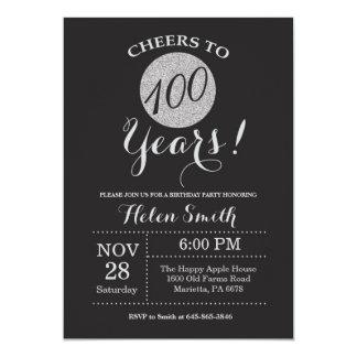 100th Preto do convite do aniversário e brilho da