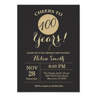 100th Preto do convite do aniversário e brilho do