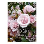 100th Rosas Celebração-Cor-de-rosa do aniversário Convite Personalizado