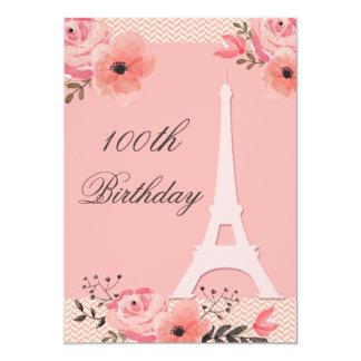 100th Torre Eiffel floral chique de Paris do Convite 12.7 X 17.78cm
