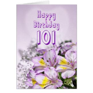 101st Cartão de aniversário com as flores do lírio