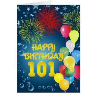 101st Cartão de aniversário com fogos-de-artifício