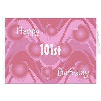 101st Corações do cartão de aniversário