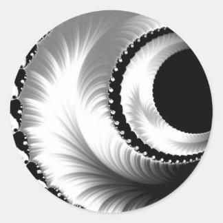 108-44 lua crescente preta & de prata adesivo redondo