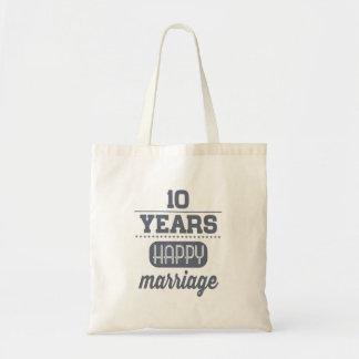 10 anos de casamento feliz bolsa tote