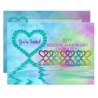 10o Aniversário de casamento Invittion - Convite 12.7 X 17.78cm