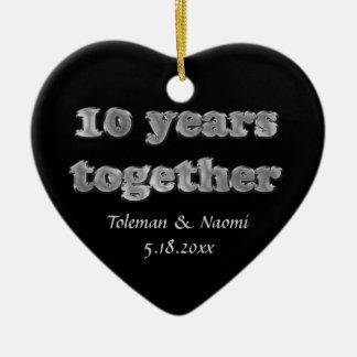 10o aniversário de casamento moderno ornamento de cerâmica coração