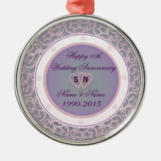 10o Aniversário de casamento Ornamento Redondo Cor Prata