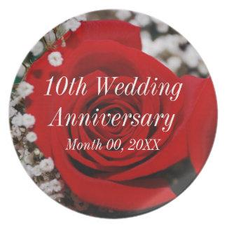 10o Aniversário de casamento Prato