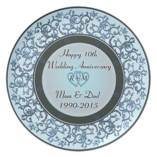 10o Aniversário de casamento Prato De Festa