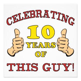 10o aniversário engraçado para meninos convite personalizados