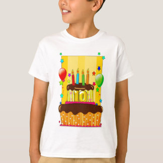 10o camisa do aniversário t - camisa do bolo de
