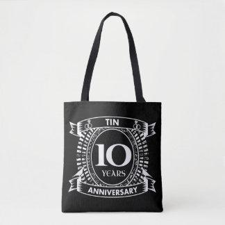 10o lata do aniversário de casamento bolsa tote