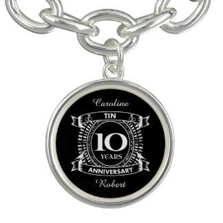 10o lata do aniversário de casamento braceletes com pingente